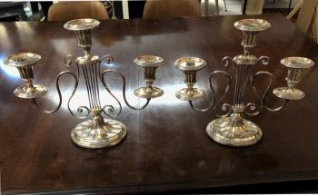 Image of English Sheffield plate candelabras