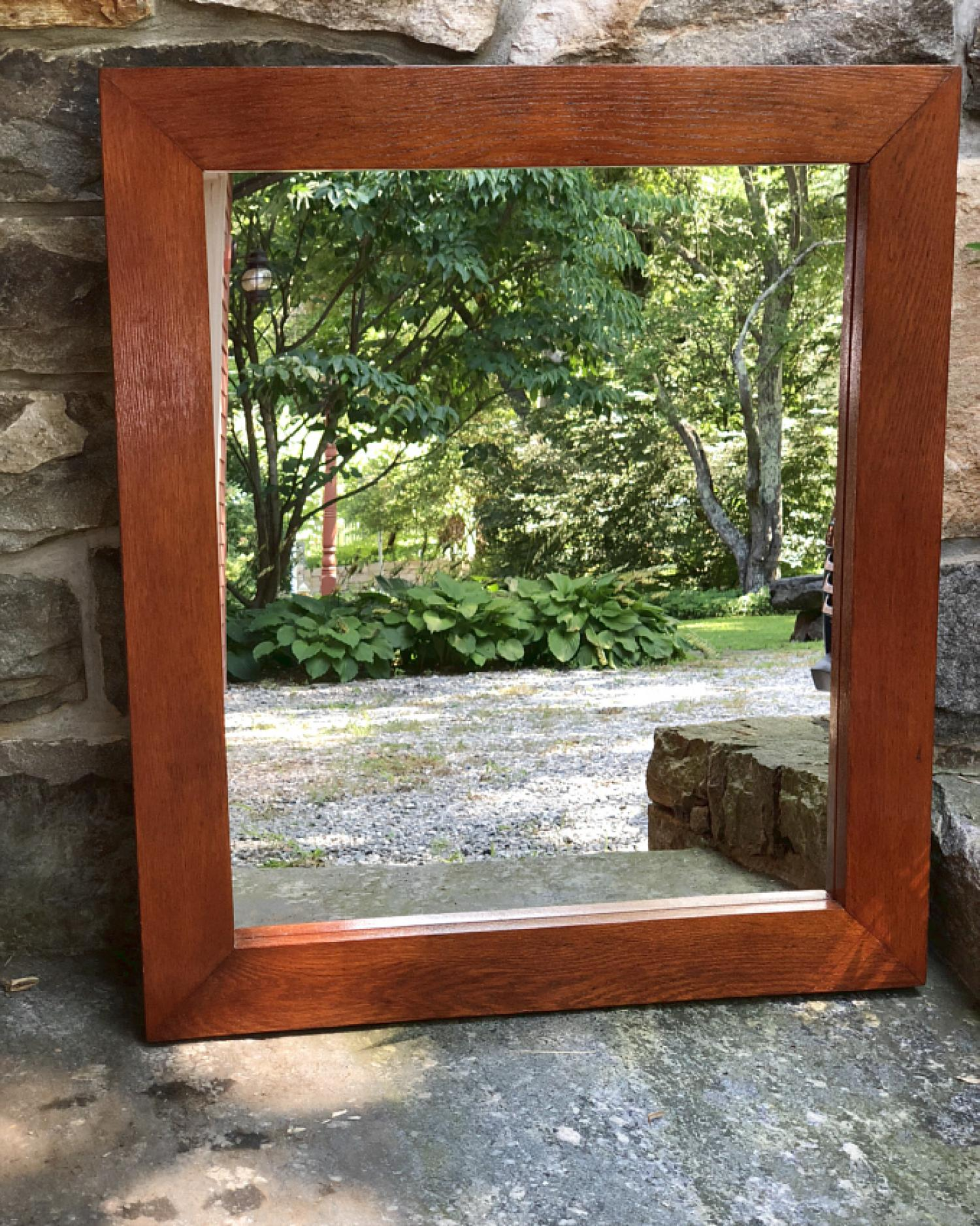 Solid oak mission style wall mirror