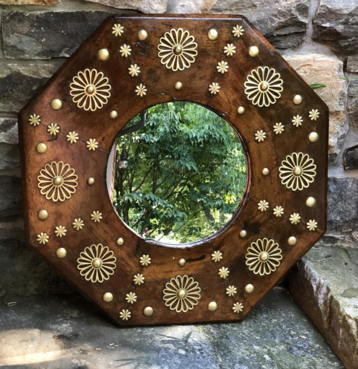 Antique Turkish octagonal wall mirror