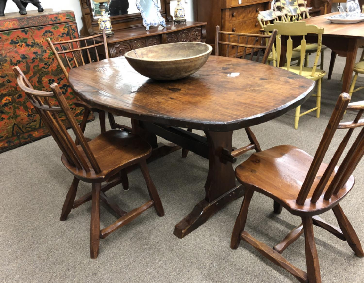 Vintage Adirondack pine trestle table and chairs