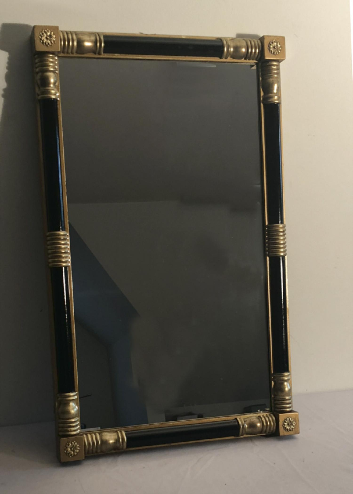 Vintage American Federal style wall mirror in black and gold c1900
