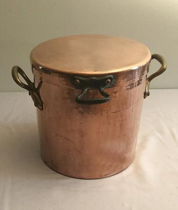 Image of Vintage large hand hammered copper covered soup pot made in France