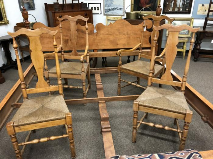 Set of 4 maple Queen Anne style chairs w rush seats c1920