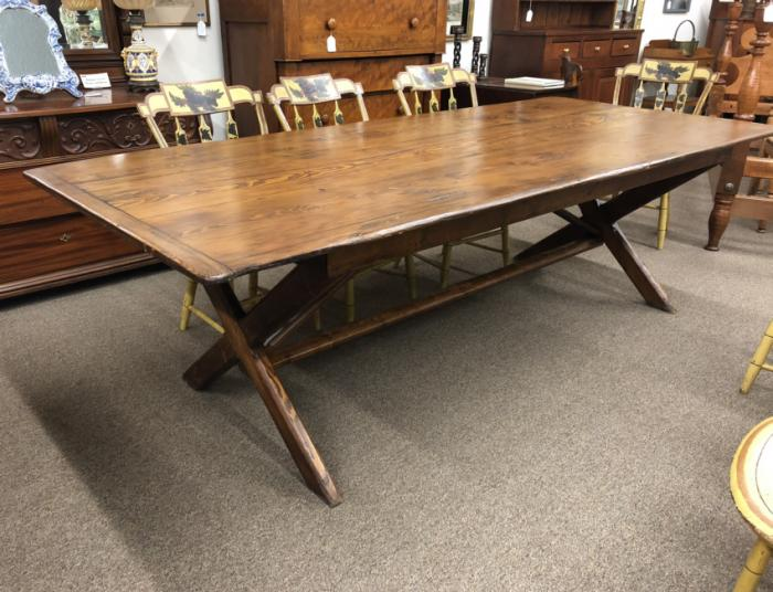 Antique pine sawbuck trestle table