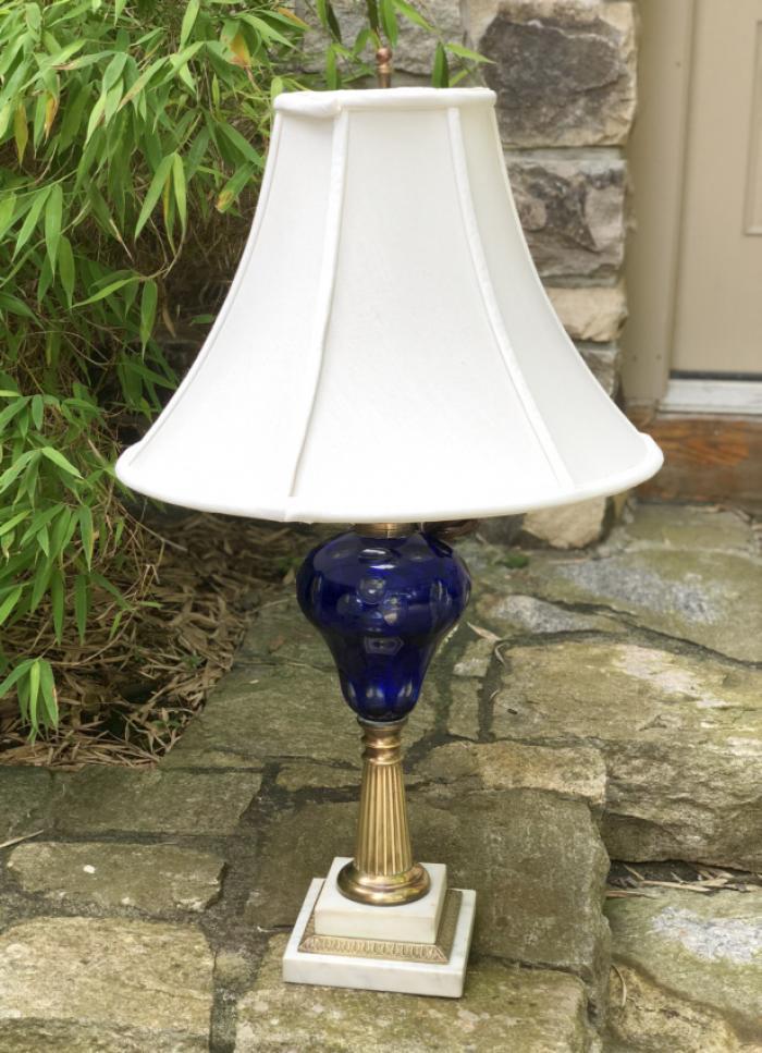 Cobalt Sandwich glass kerosene lamp on brass marble base c1860