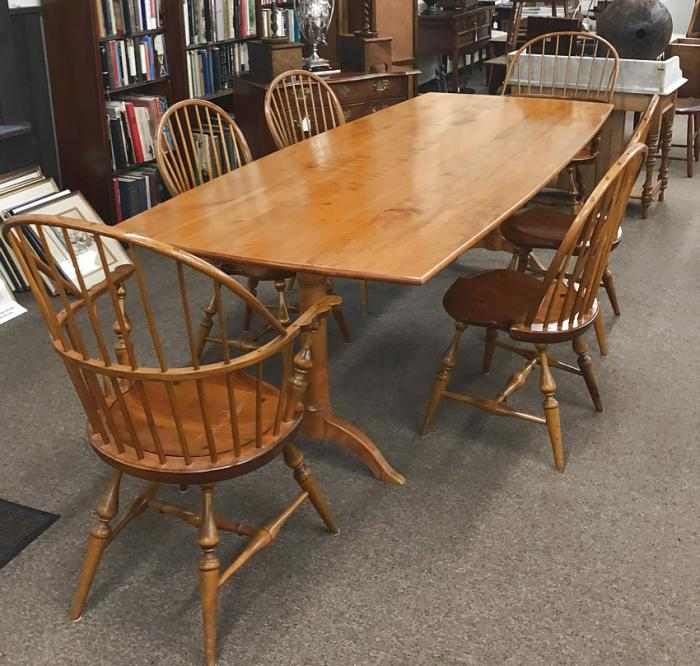 Tiger maple dining table in the Shaker style
