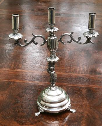 Image of Bolivian Spanish Colonial silver candelabra