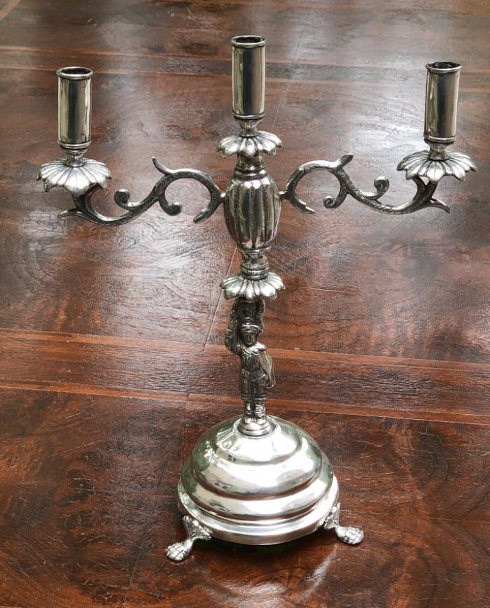 Bolivian Spanish Colonial silver candelabra