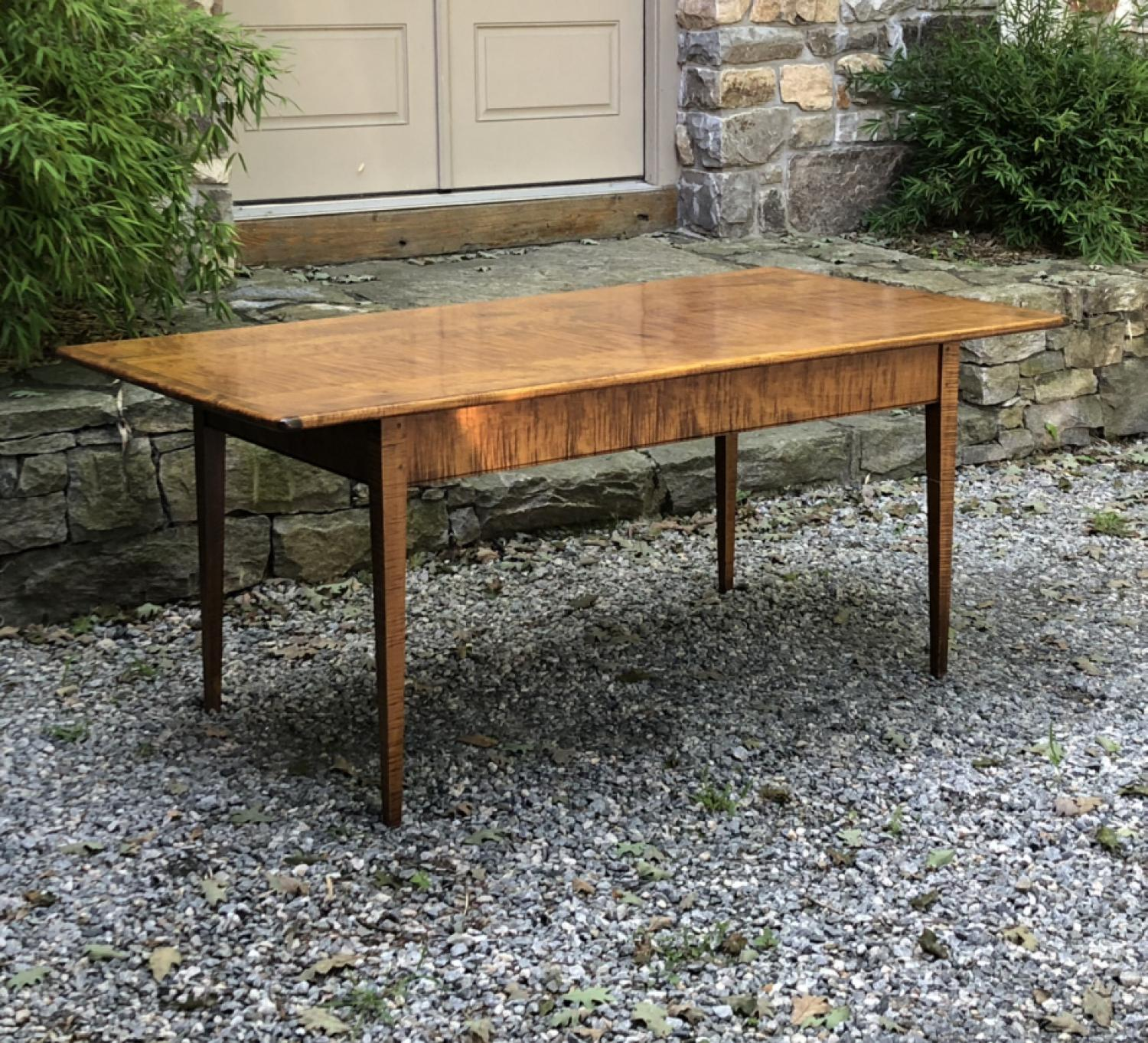 Vintage bench made tiger maple dining table c1970