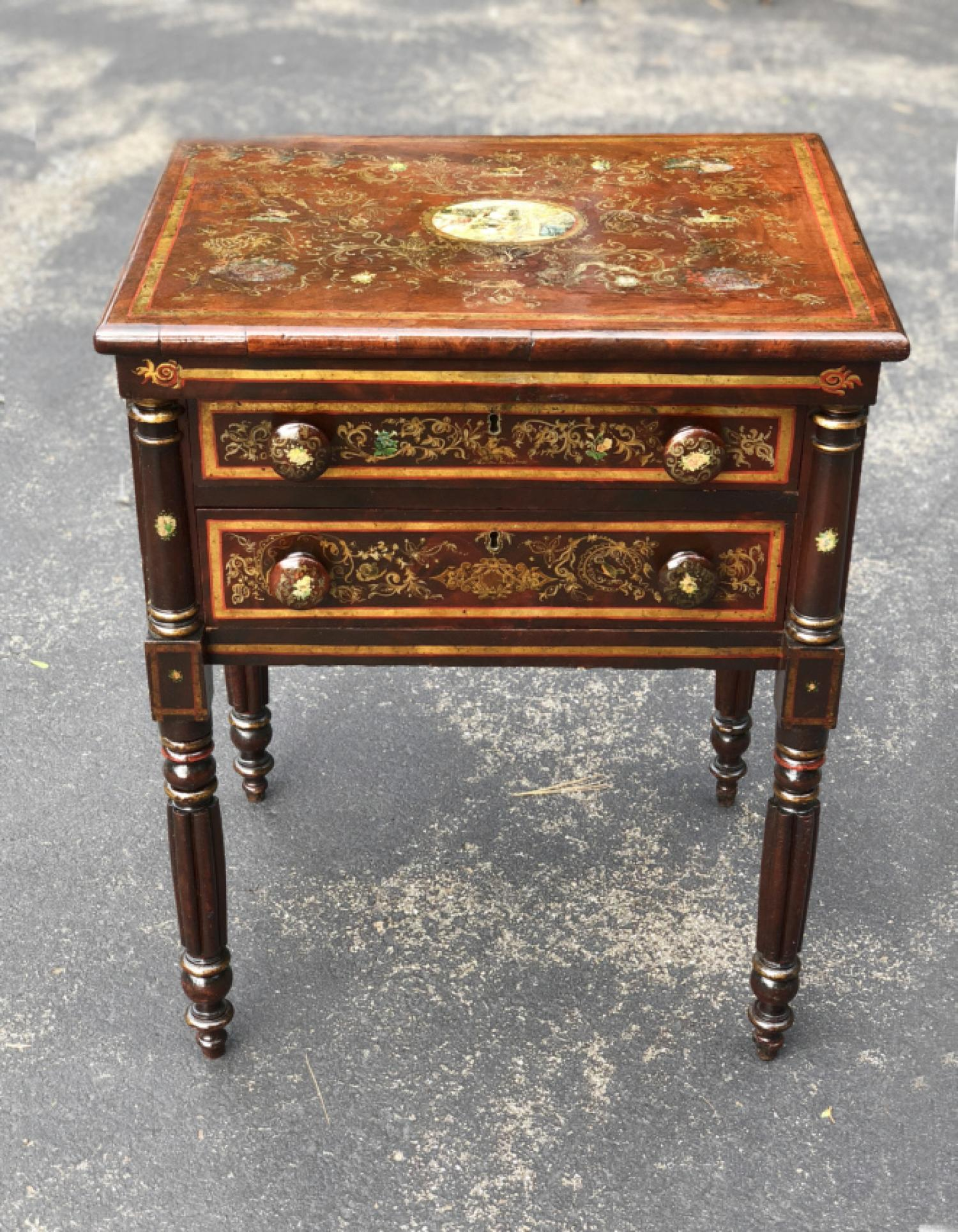 New York mahogany stand with painted surface c1830
