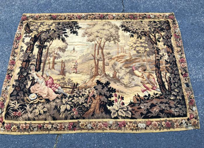 Antique Belgian scenic tapestry c1850