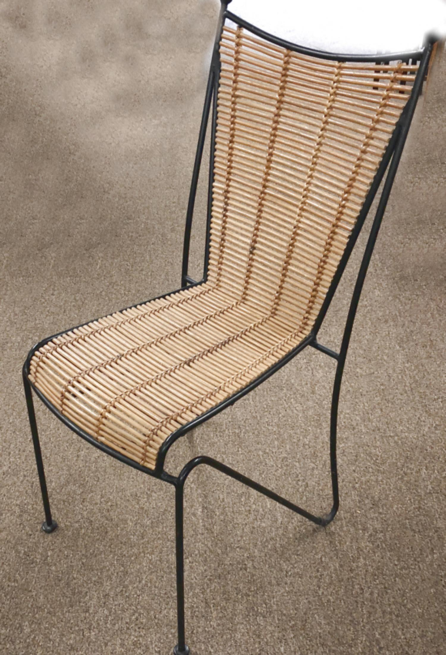 Mid Century Modern iron and bamboo chair c1960