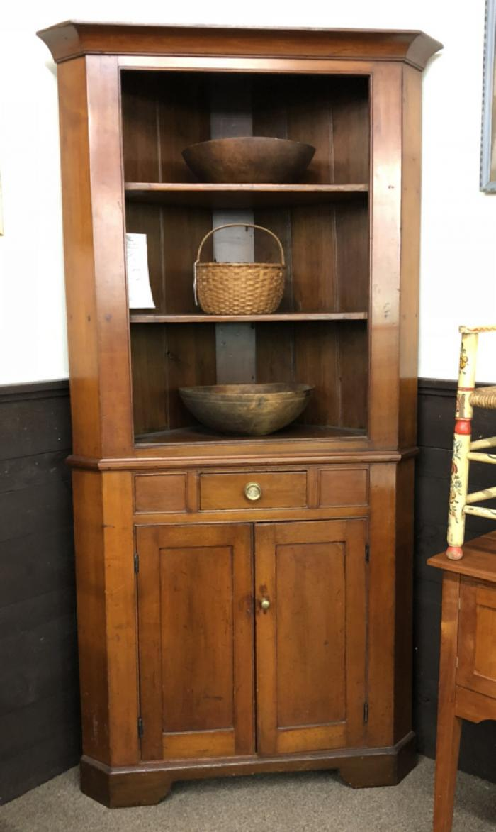 Early  New England cherry corner cupboard