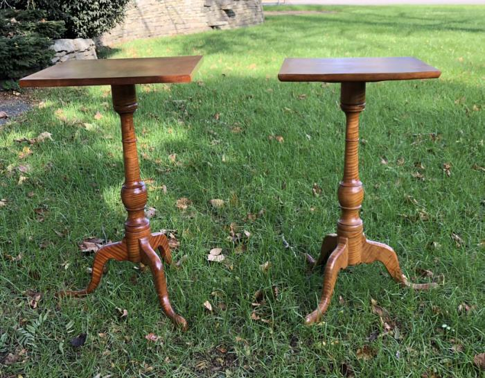 Pair of tiger maple snake foot candle stands