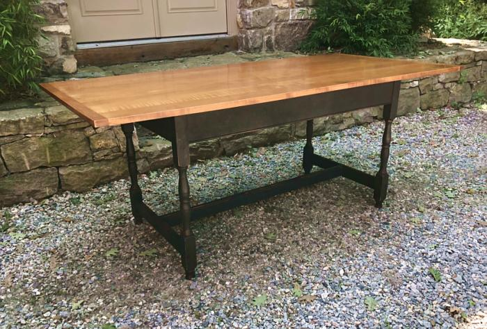 Tiger maple harvest table by Classics in Wood