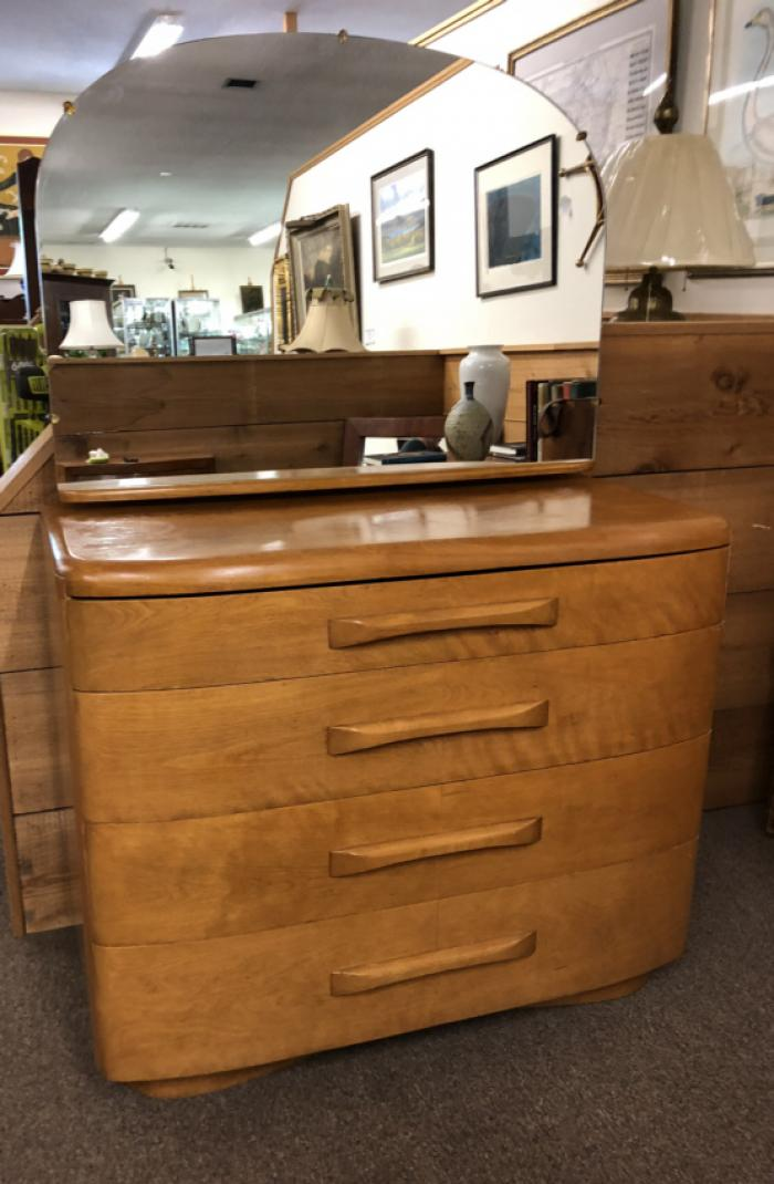 Vintage Heywood Wakefield maple chest and mirror