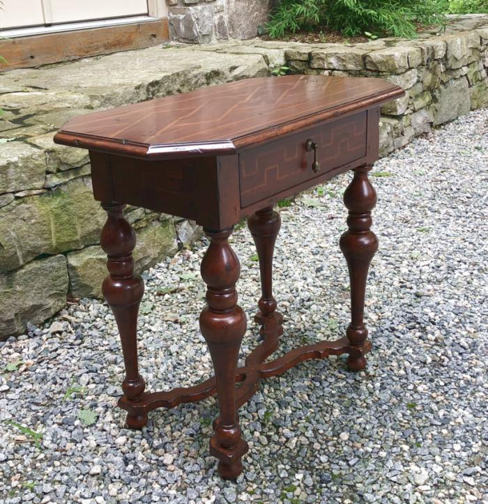 Italian Renaissance style inlaid table with drawer