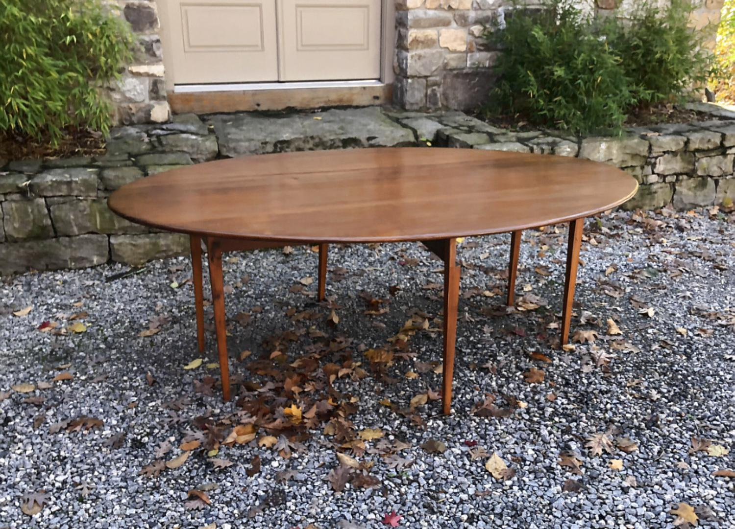 Antique pine drop leaf harvest table with swing legs