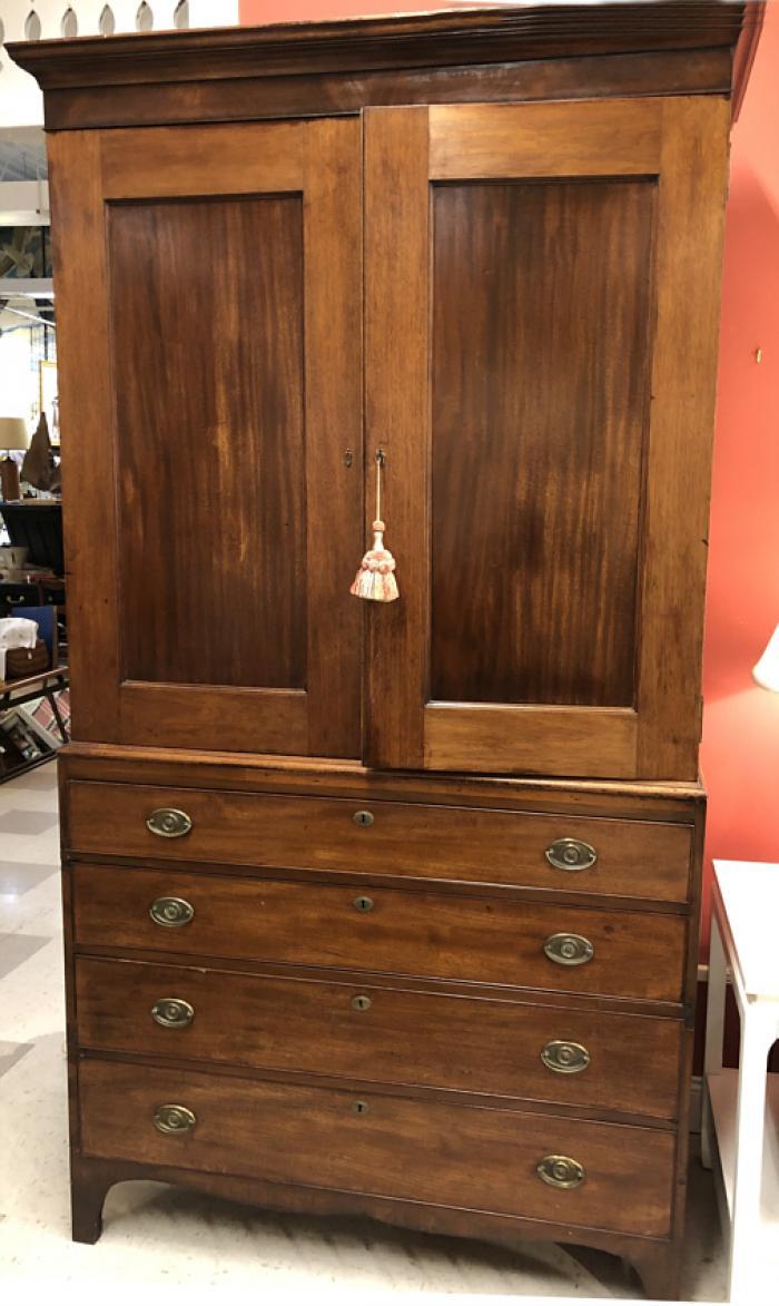 Antique Georgian period mahogany linen cabinet