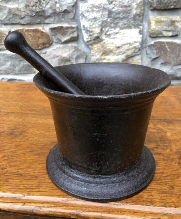 Early American Cast Iron Mortar And Pestle