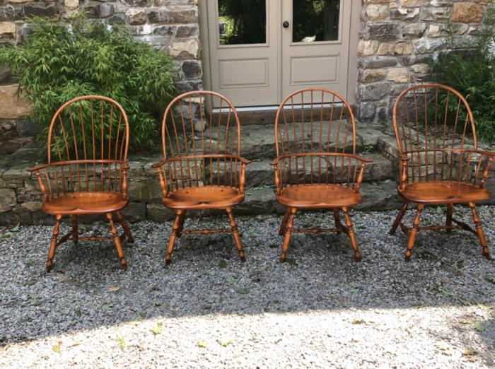 D R Dimes bow back Windsor arm chairs with plank seats