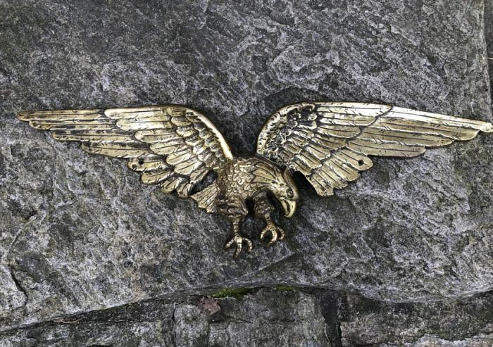 Antique brass soaring eagle architectural sculpture