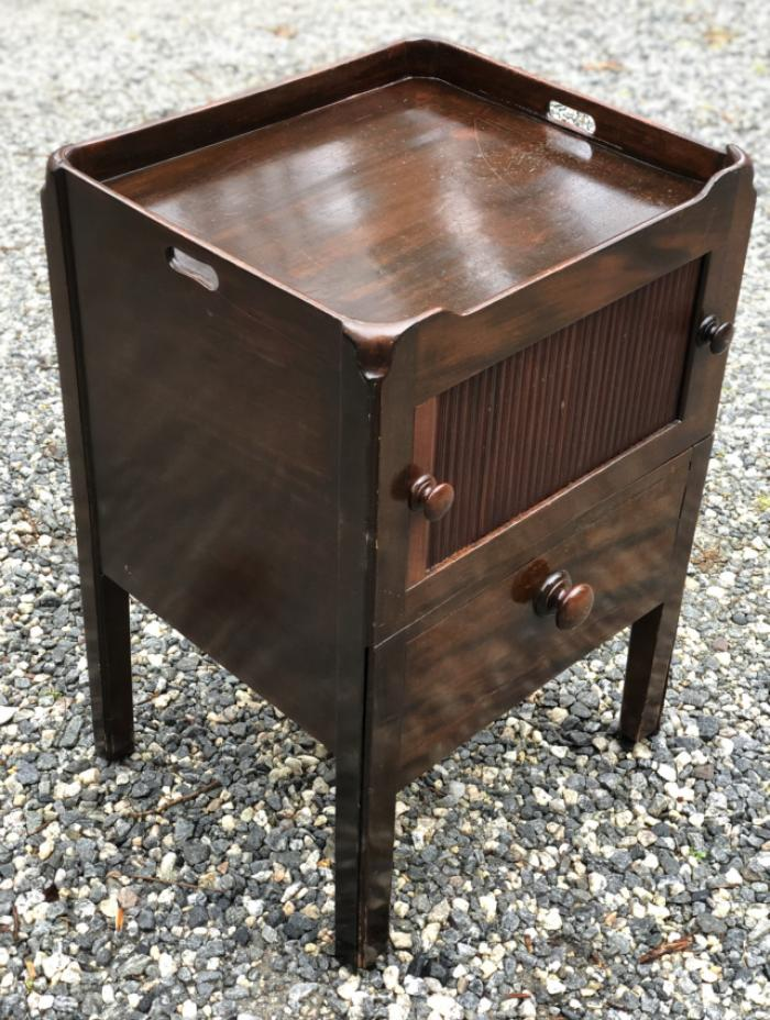 Antique Georgian mahogany tambour front bedside stand c1820
