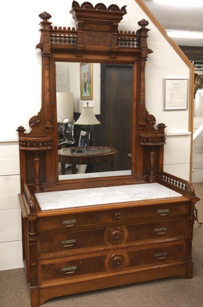 American Victorian walnut marble top dresser c1865