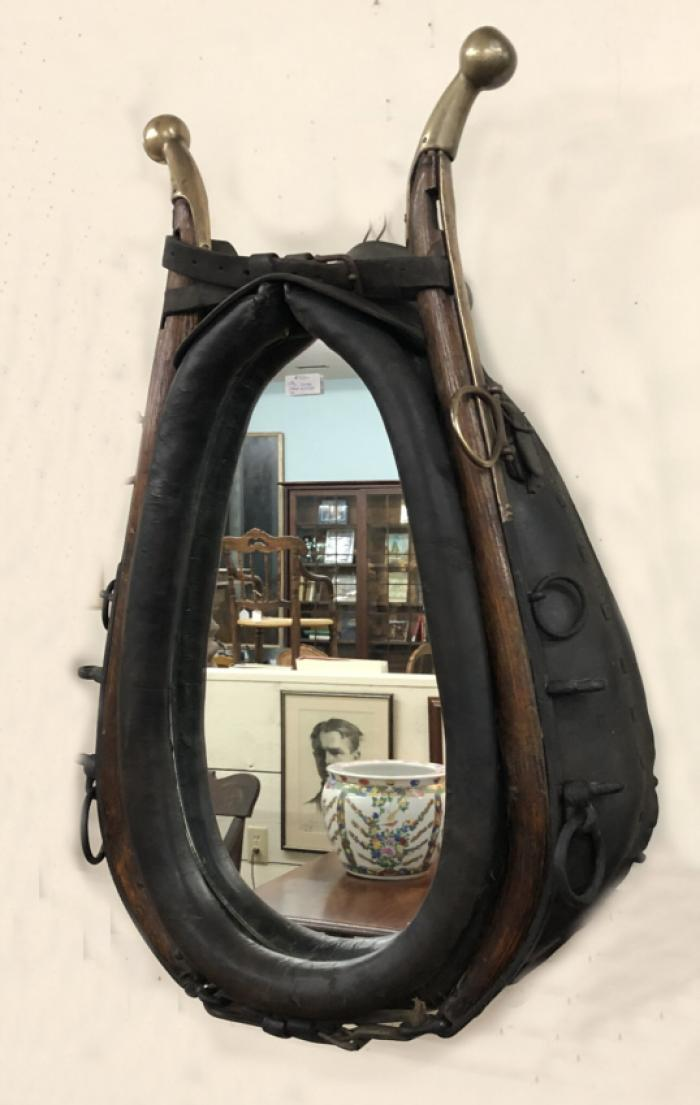 Antique 19th c horse yoke mirror