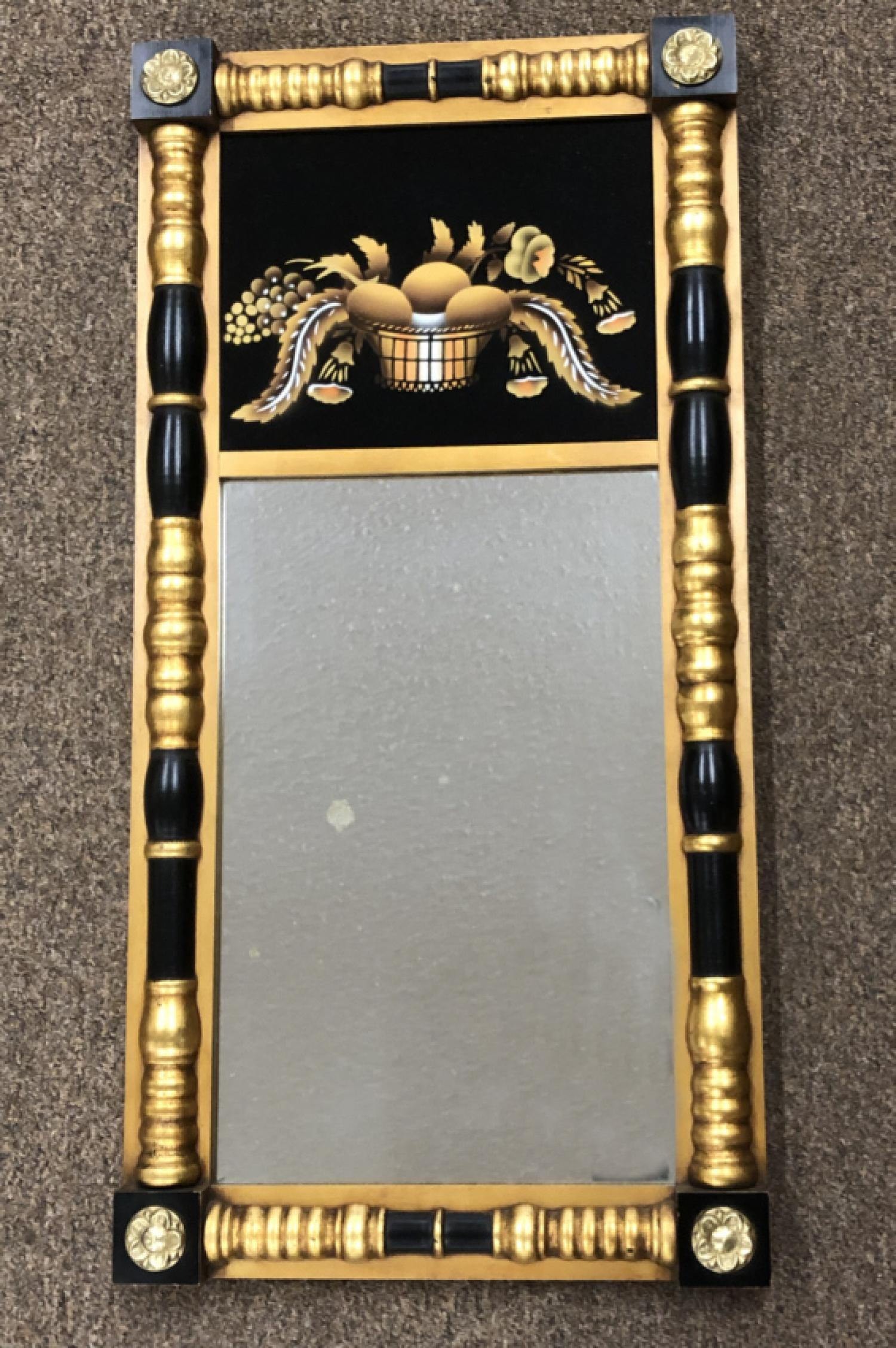 Vintage Hitchcock mirror with painted glass panel