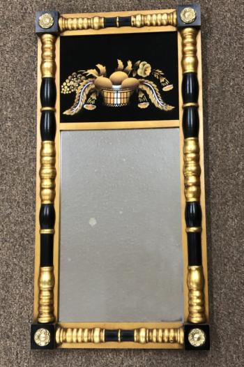 Image of Vintage Hitchcock mirror with painted glass panel