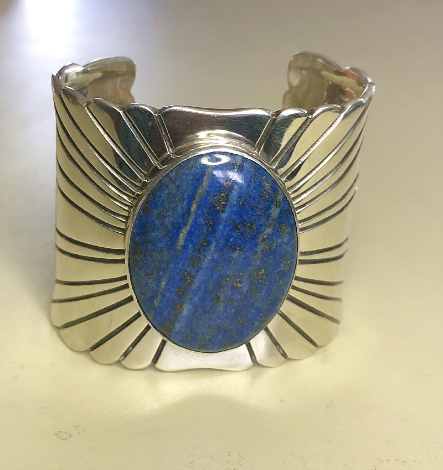 Sterling silver and lapis cuff bracelet