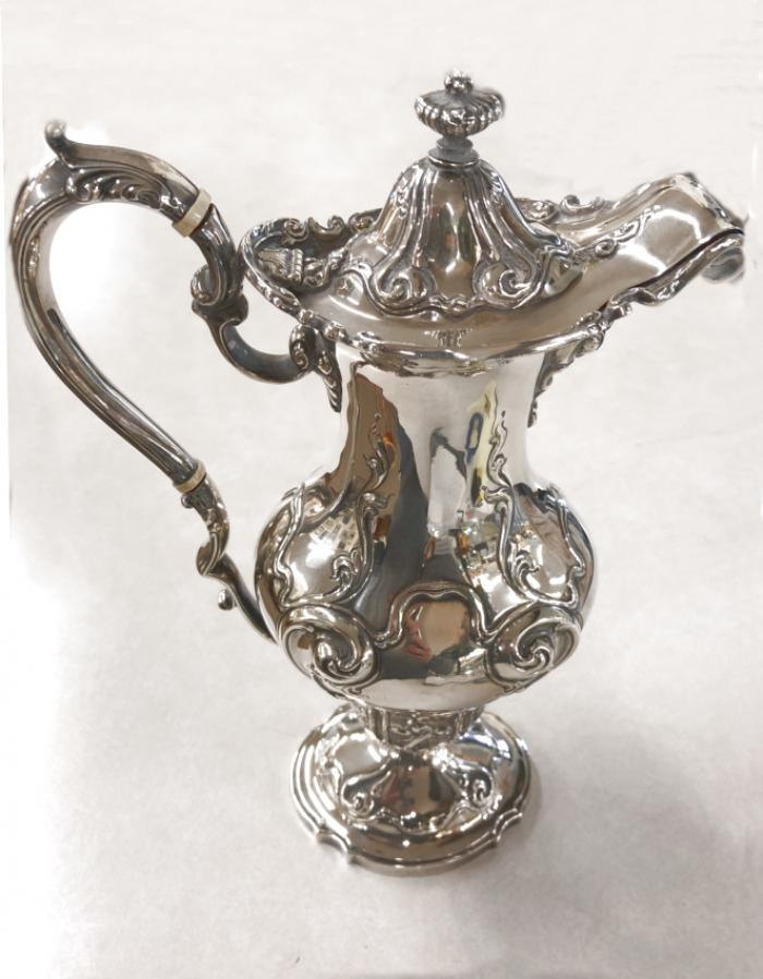 J E Caldwell Co sterling silver chocolate pot