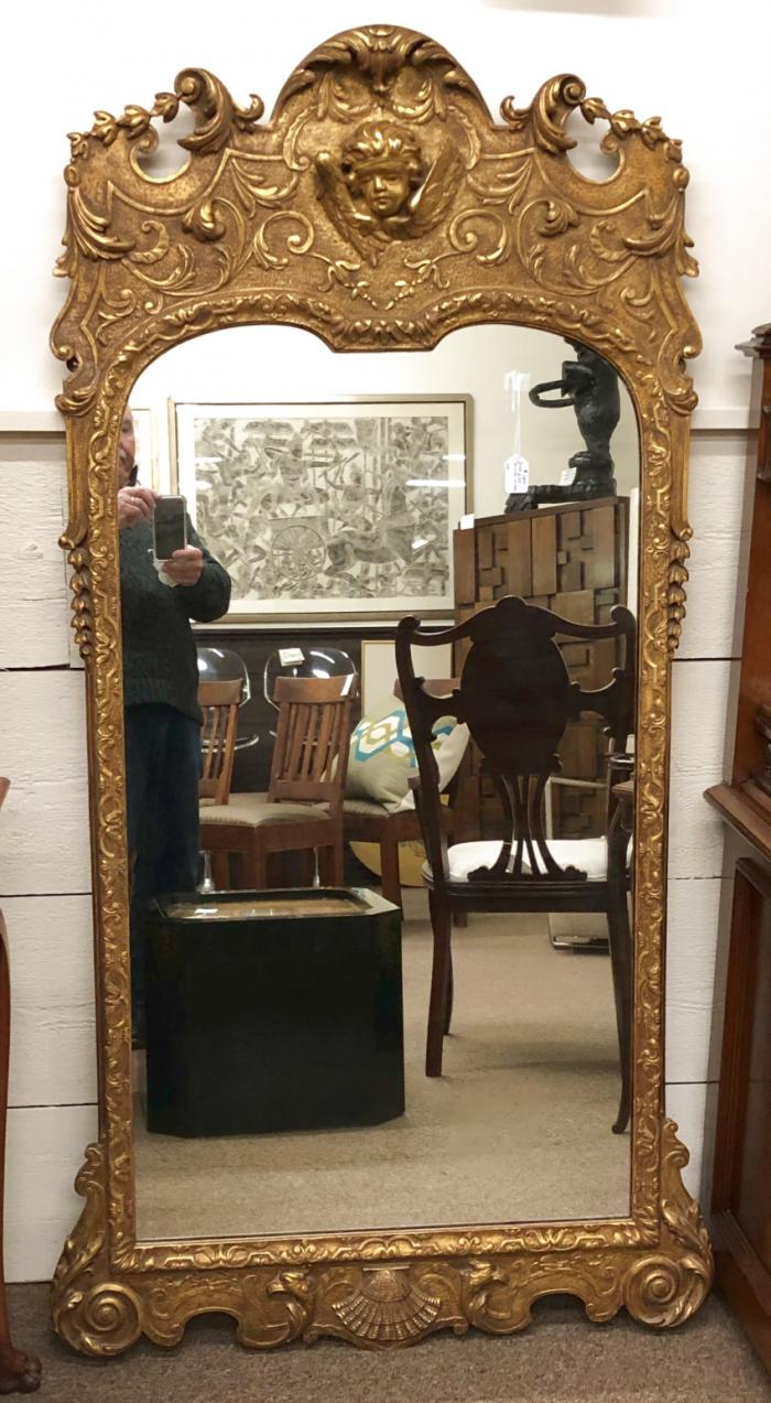 Antique Continental gold leaf mirror c1900