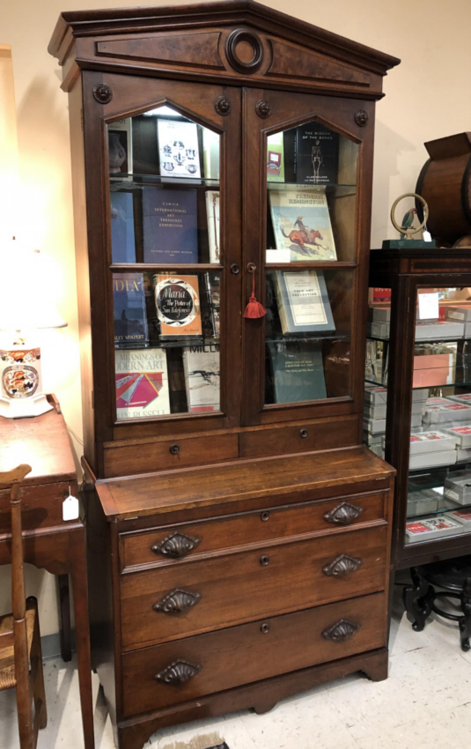 American Victorian black walnut cabinet c1875