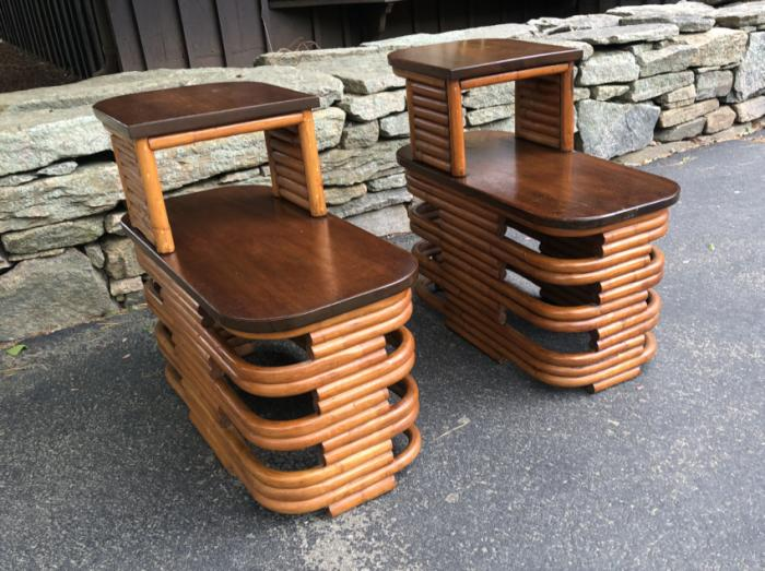 Pair Paul Frankel rattan and mahogany tables c1950
