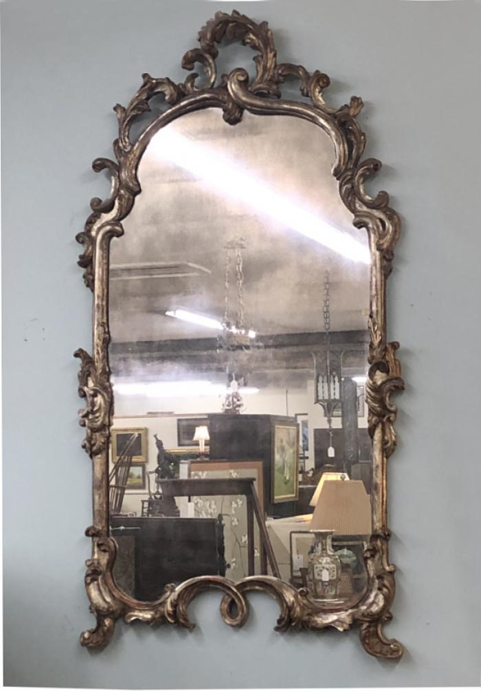 Vintage French carved silver leaf mirror