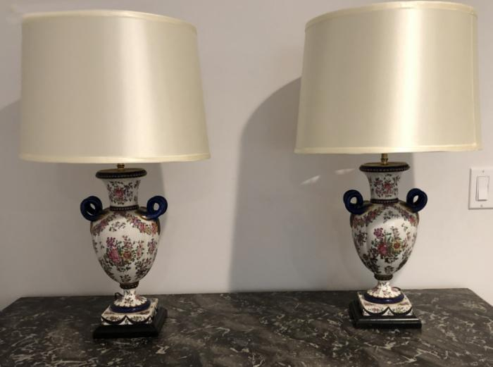 Pair of  E Samson porcelain lamps