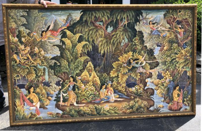 Ubud Bali oil painting signed P D Tegal