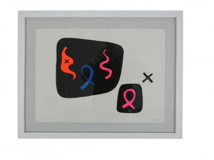 A Sacha Kolin Biomorphic Abstract Gouache Composition on Paper
