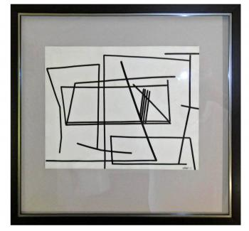 Image of Paul Nabb Modernist Ink on Paper Geometric Linear Abstract Composition