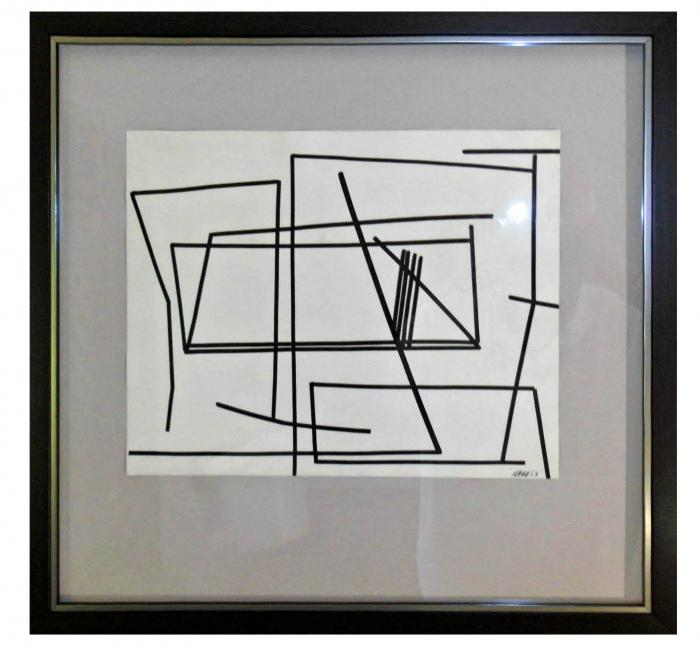 Paul Nabb Modernist Ink on Paper Geometric Linear Abstract Composition
