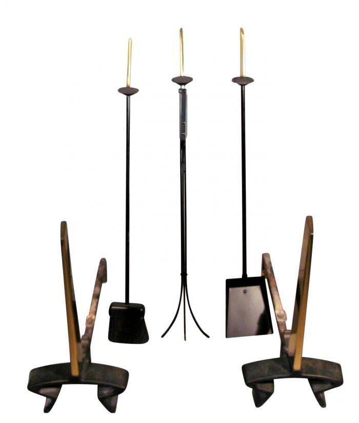 Donald Deskey Vintage Modernist Design Andirons Matching Fire Tools
