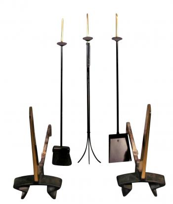 Image of Donald Deskey Vintage Modernist Design Andirons Matching Fire Tools