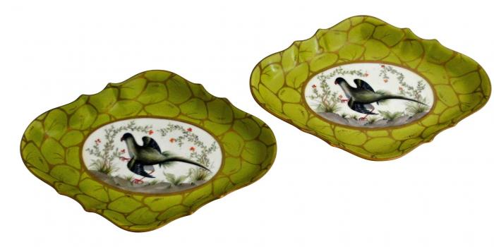 Unusual Color Pair of Paris Porcelain Diamond Shape Shallow Serving Dishes