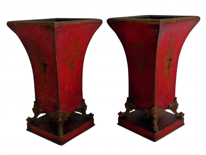 A Matched Pair of 19th Century French Red painted Tole Cachepots
