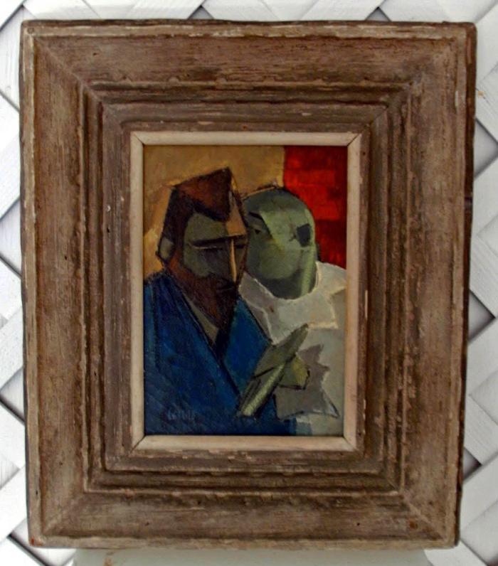 Wyndham Lewis Cubist Portrait Painting
