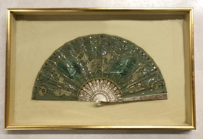 Bayard 19thc French embroidered fan