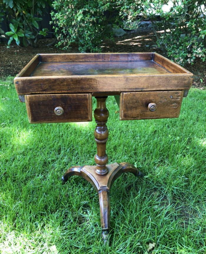 Rare French walnut pedestal stand c1790