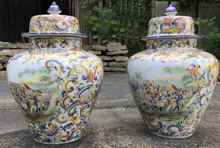 19thc Italian maiolica covered jars with battle scenes
